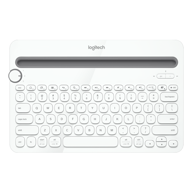 Bluetooth Multi-Device Keboard K480, full view with a tablet