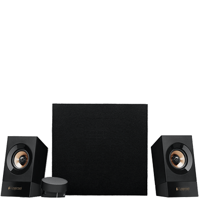 Two satellites with subwoofer and control pod peak power