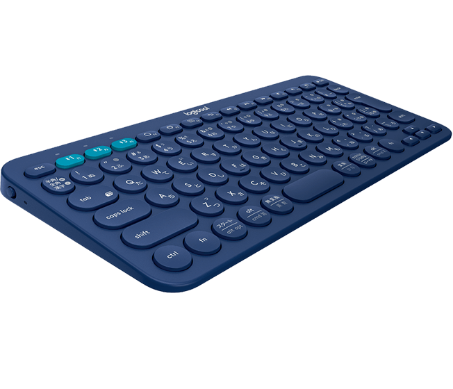 K380 Bluetooth Keyboard, Logicool, Blue, angle view