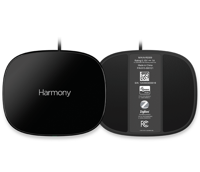Harmony Home Hub Extender, fron and back view