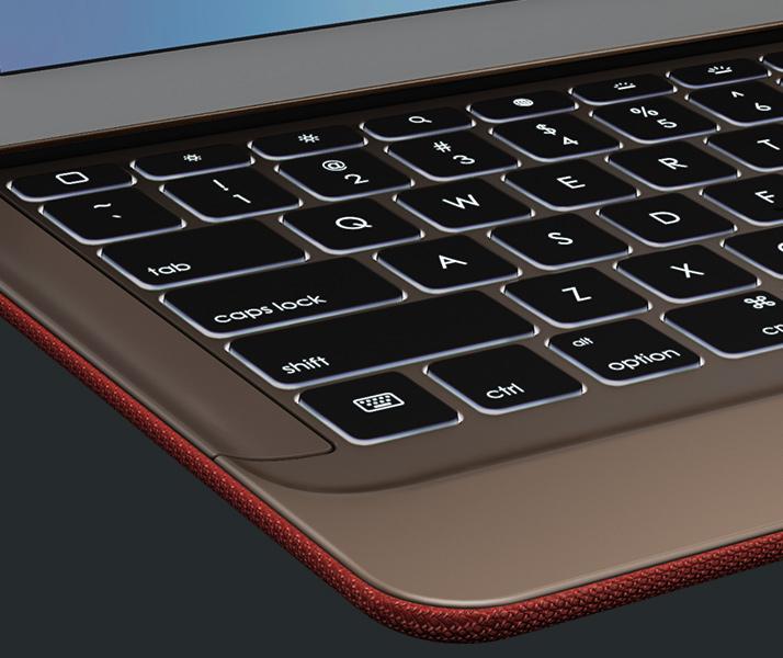 Close look at keys of CREATE Backlit Keyboard for iPad Pro