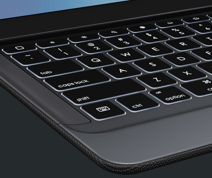 Close look at keys of CREATE Backlit Keyboard for iPad Pro