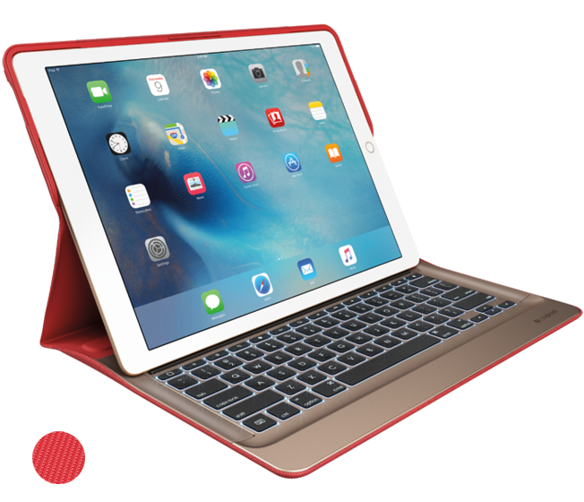 CREATE Backlit Keyboard with Smart Connector for iPad Pro, Classic Red front view