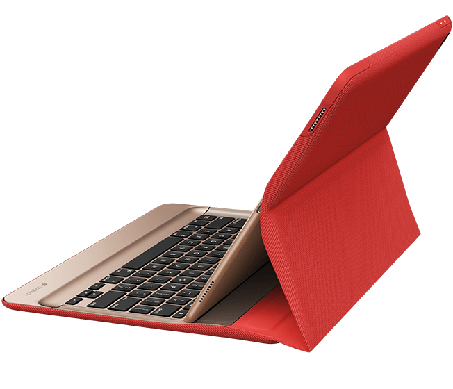 CREATE Backlit Keyboard with Smart Connector for iPad Pro, Classic Red|Gold, side view