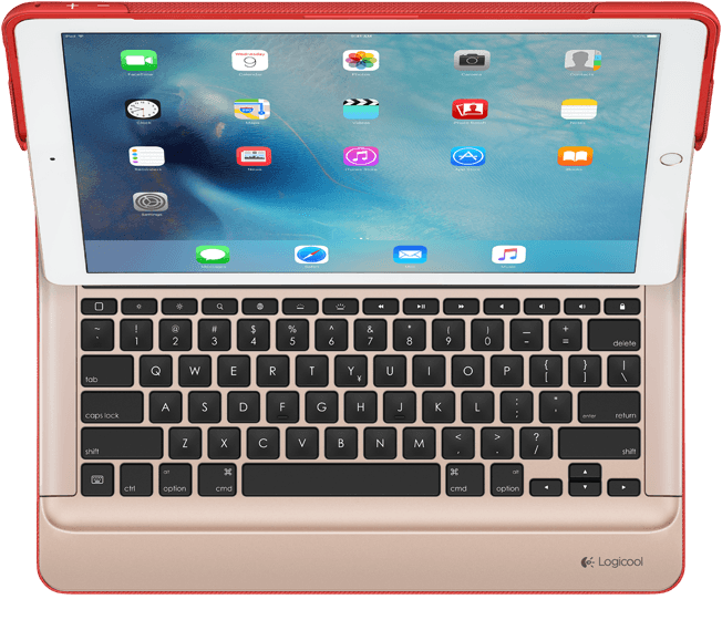CREATE Backlit Keyboard with Smart Connector for iPad Pro, Classic Red|Gold, top view showing keyboard layout
