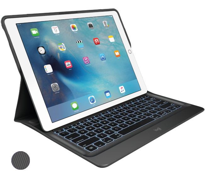 CREATE Backlit Keyboard with Smart Connector for iPad Pro, Black|Black front view