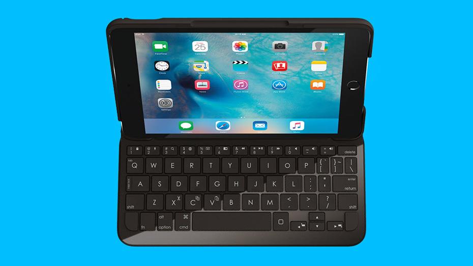 Logitech keyboard for iPad, black, top view