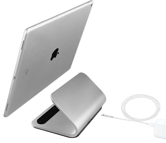 Logi BASE iPad Pro charging stand, top view