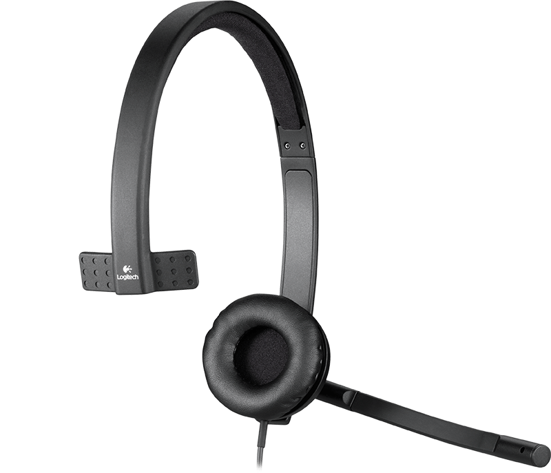 Headband with one earcup on the H570e, mic and volume control
