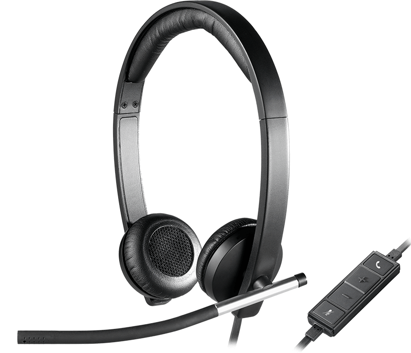 close-up on H650e headset with volume control panel