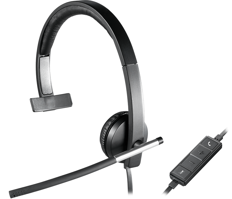 close-up on H650e headset with one earcup and volume control panel