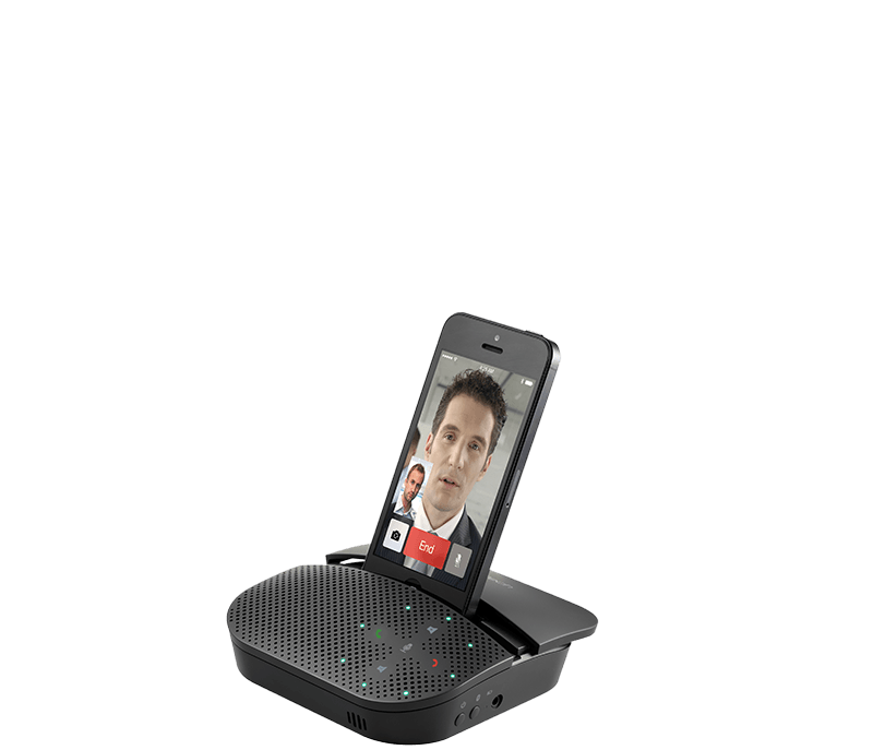 Angled view of Smartphone in video chat uising 710e.