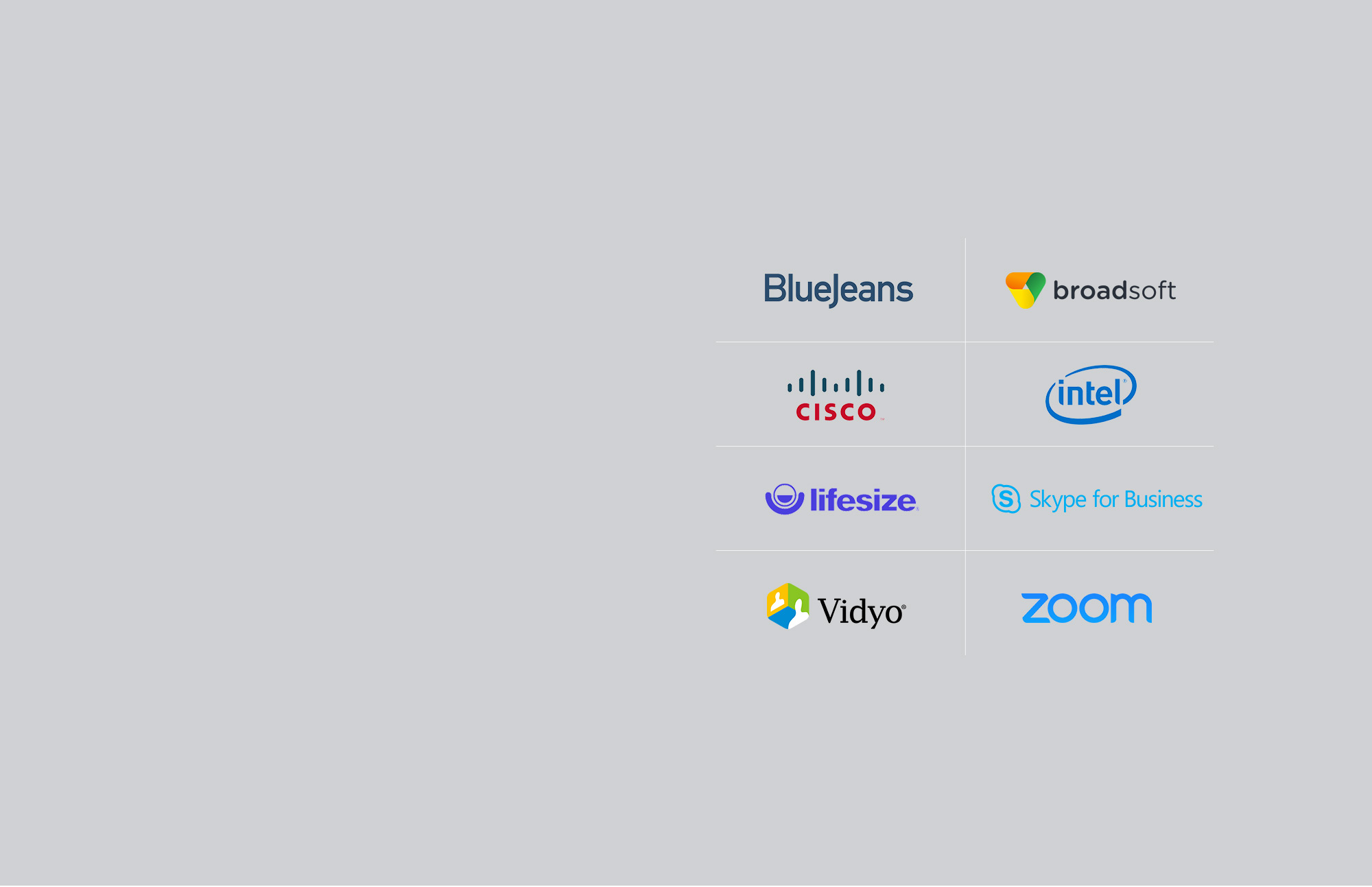 Lifesize, broadsoft, BlueJeans, Lync, Skype for Business, cisco, zoom, and Vidyo logos of companies compatible with C930e.