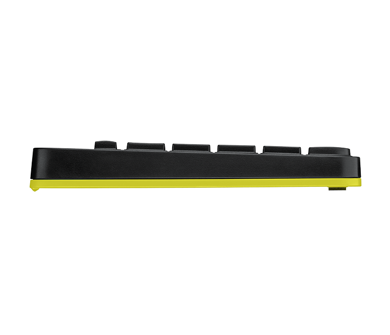 Side view of Mk240 Black Keyboard with Yellow trim