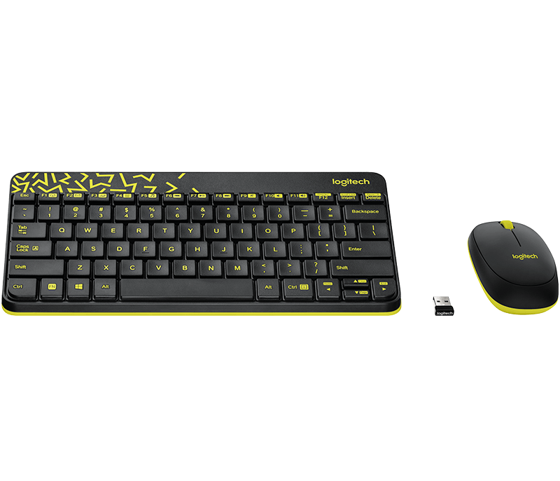 Mk240 Keyboard and Mouse in Black with Yellow accents