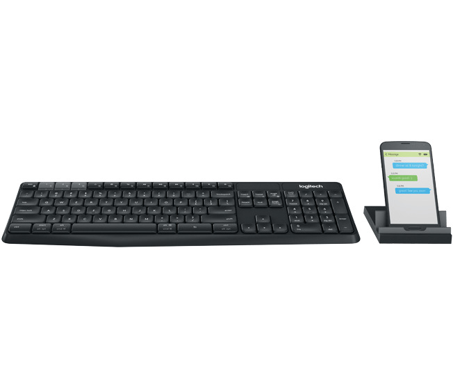 K375s Multidevice Keyboard and Universal phone with tablet stand - black