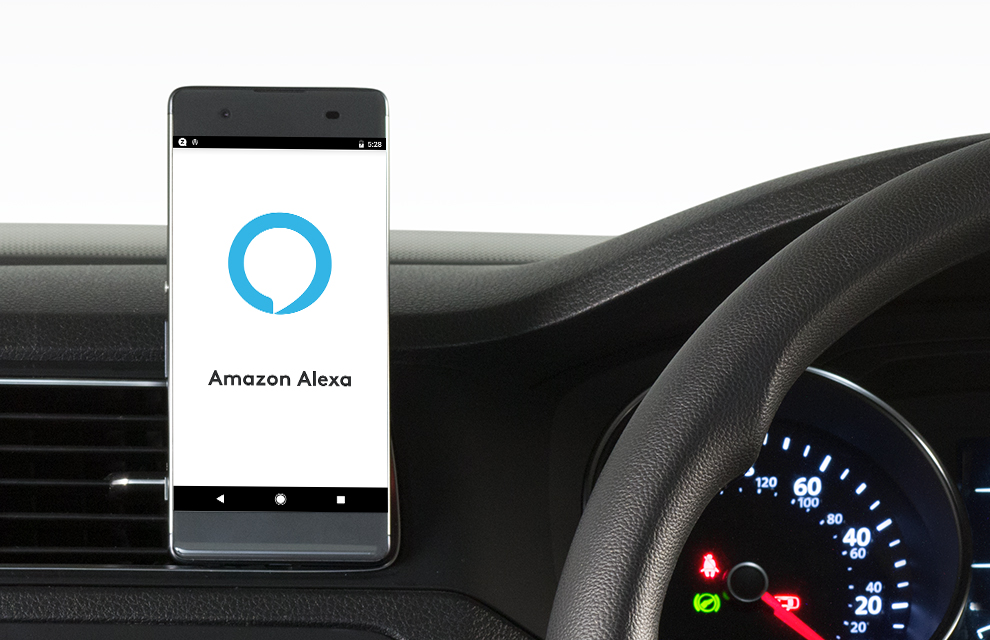 Zerotouch car phone holder with Alexa integration