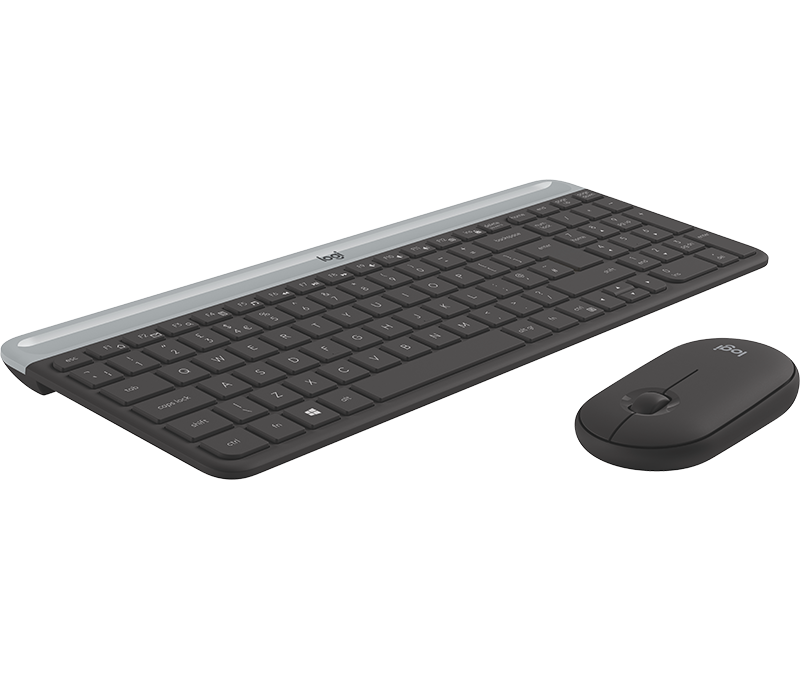 2.4 GHz USB Receiver Low Profile Compact Layout English Layout Logitech MK470 Slim Wireless Keyboard and Mouse Combo Ultra Quiet Operation White