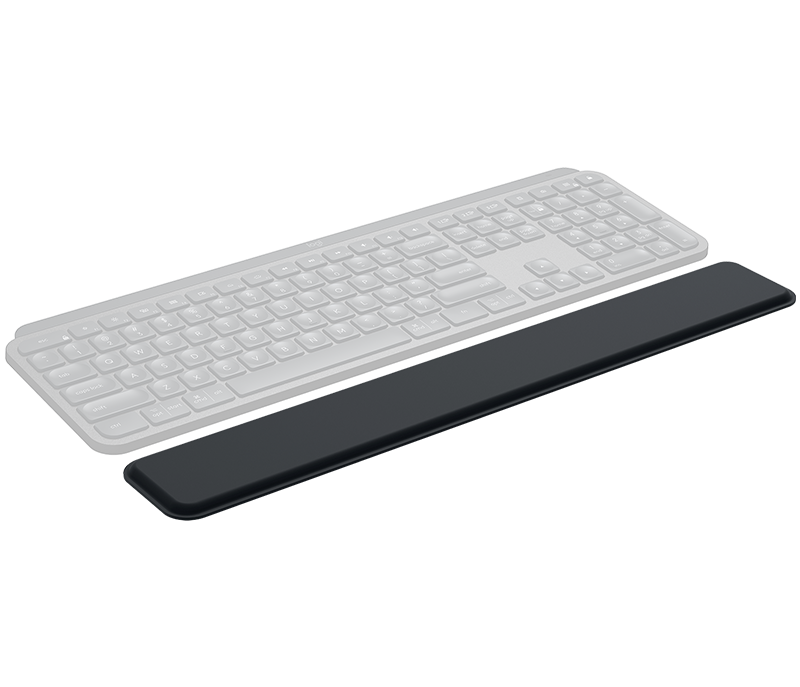 MX Palm Rest Three Quarter Front Top View below transparent keyboard image outlining the position.