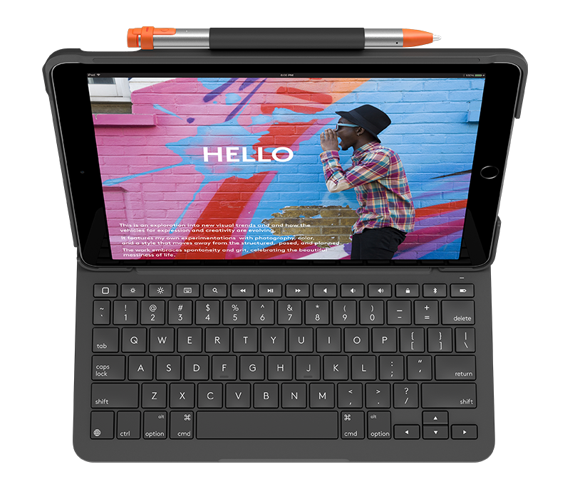 Slim Folio for iPad 7th gen with integrated keyboard front view