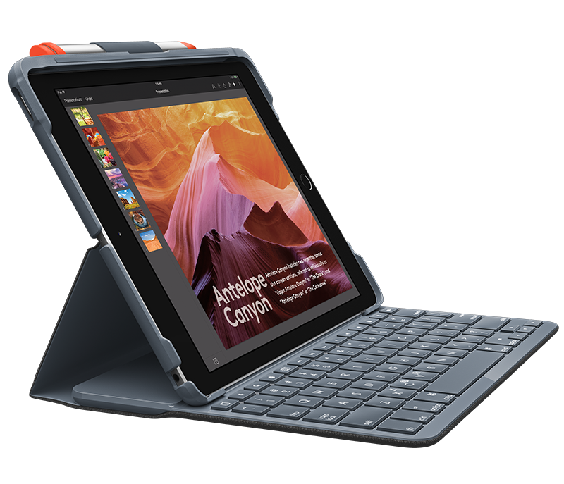 Slim Folio for iPad 5th and 6th gen with integrated keyboard side view