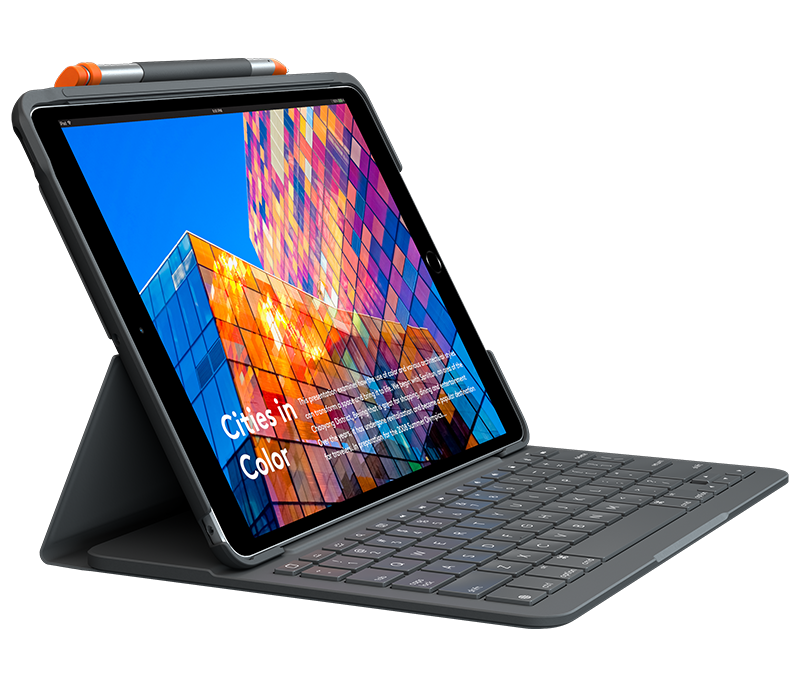 Slim Folio for iPad Air 3rd gen with integrated keyboard side view